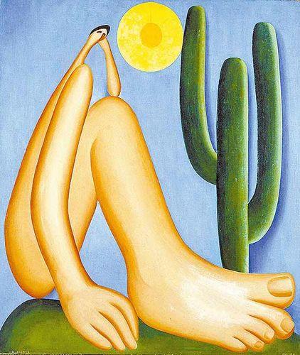 A foto mostra o quadro de arte o Abaporu de Tarsila do Amaral.