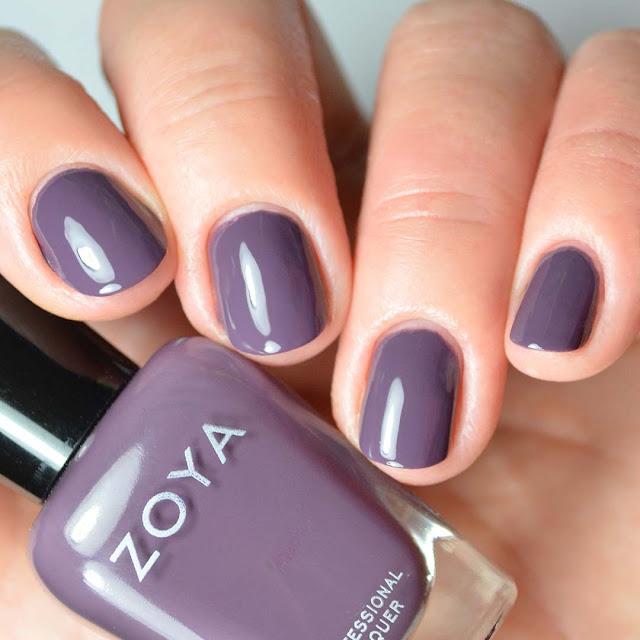 grey creme nail polish four finger swatch
