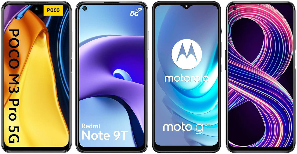 Xiaomi POCO M3 Pro 5G vs Xiaomi Redmi Note 9T vs Motorola Moto g50 vs Realme 8 5G