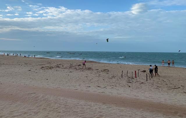 praia de areia escura com alguns banhistas e mar com ondas fortes esverdeadas