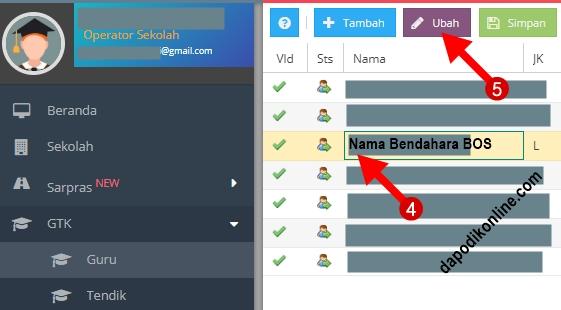 Klik nama Guru-Tendik yang mendapat tugas sebagai Bendahara BOS kemudian klik ubah