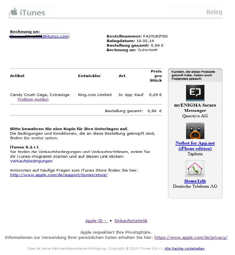 phishing mail alerts itunes store ihr beleg nr. Black Bedroom Furniture Sets. Home Design Ideas