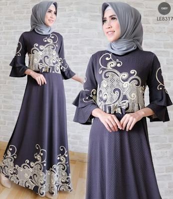 Baju gamis muslim lebaran motif batik cap