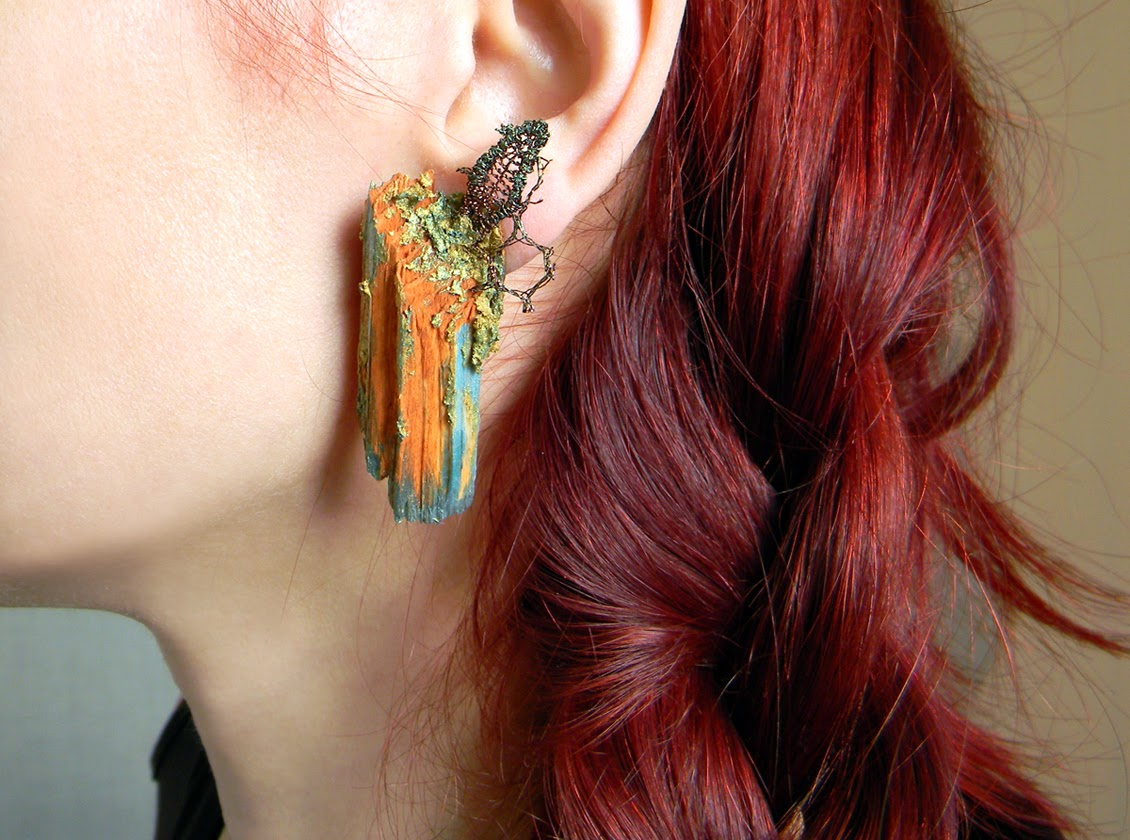 Rustic Irregular Wooden Clip on Earrings with Hand Painted Metallics and Copper Embroidery Applique