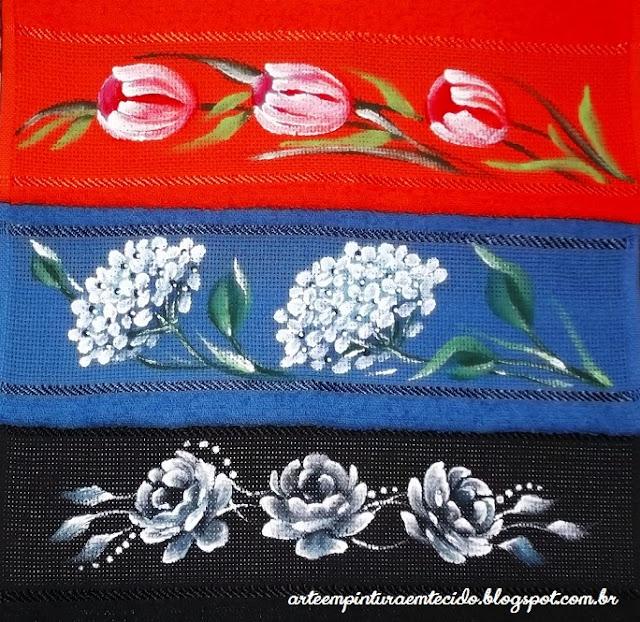 pintura em tecido toalhas flores