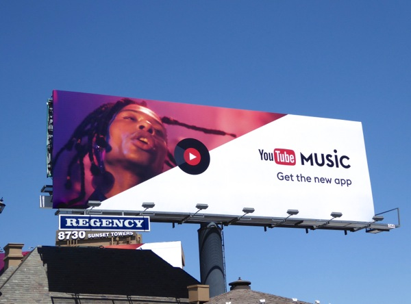 YouTube Music app 2016 billboard