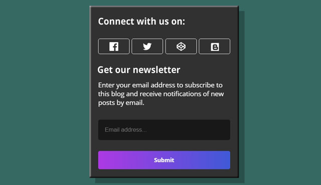 Social Counter + Newsletter Widget