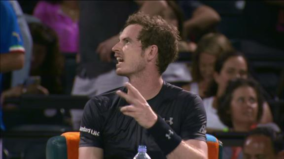 ANDY MURRAY MIFFED AFTER MISTAKENLY HAVING TO SERVE WITH WOMEN'S BALL