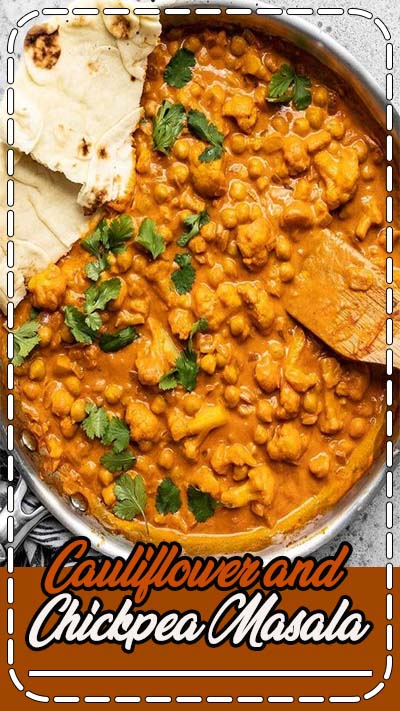 This super easy, ultra creamy, and heavily spiced Cauliflower and Chickpea Masala will be your new favorite weeknight dinner! So much flavor, so little effort. Budgetbytes.com #vegetarian #dinner