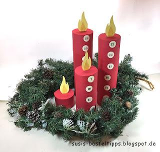 weihnachten-deko-Adventskalender-papprollen-kerzen-diy-recycle-packband-verpackung-reste-pappe-rollen-klebeband stampin up glutrot