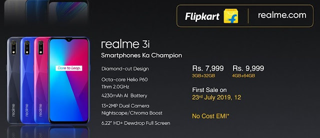 Realme 3i with MediaTek Helio P60 launched at Rs. 7,999