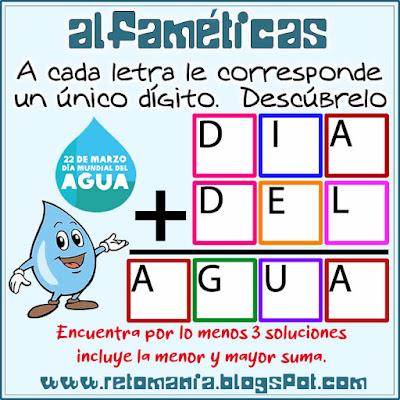 Agua, Día del Agua, Día mundial del agua, Alfamética, Criptoaritmética, Criptosuma, Criptograma, Juego de palabras, Suma de Palabras