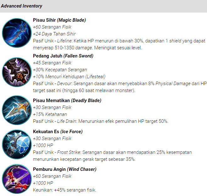 Item (Attack) Serangan Mobile Legends: Bang bang