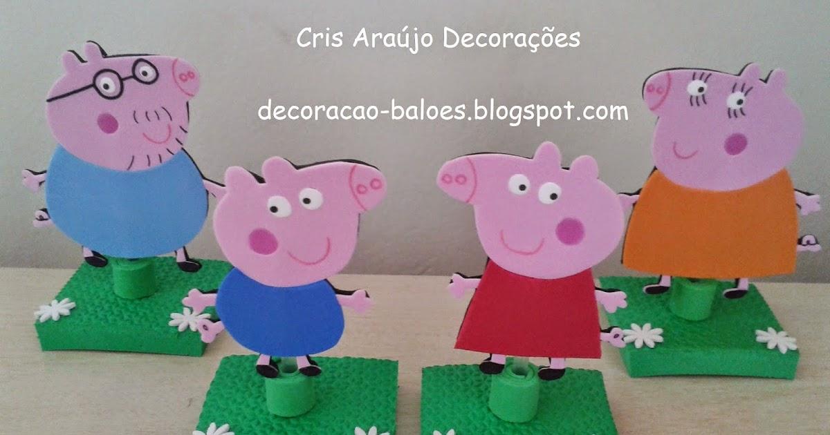 Arte Com Balões E EVA: EVA: Topo De Bolo Família Peppa Pig