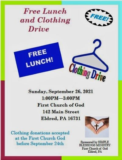 9-26 Free Lunch & Clothing Drive, Eldred, PA