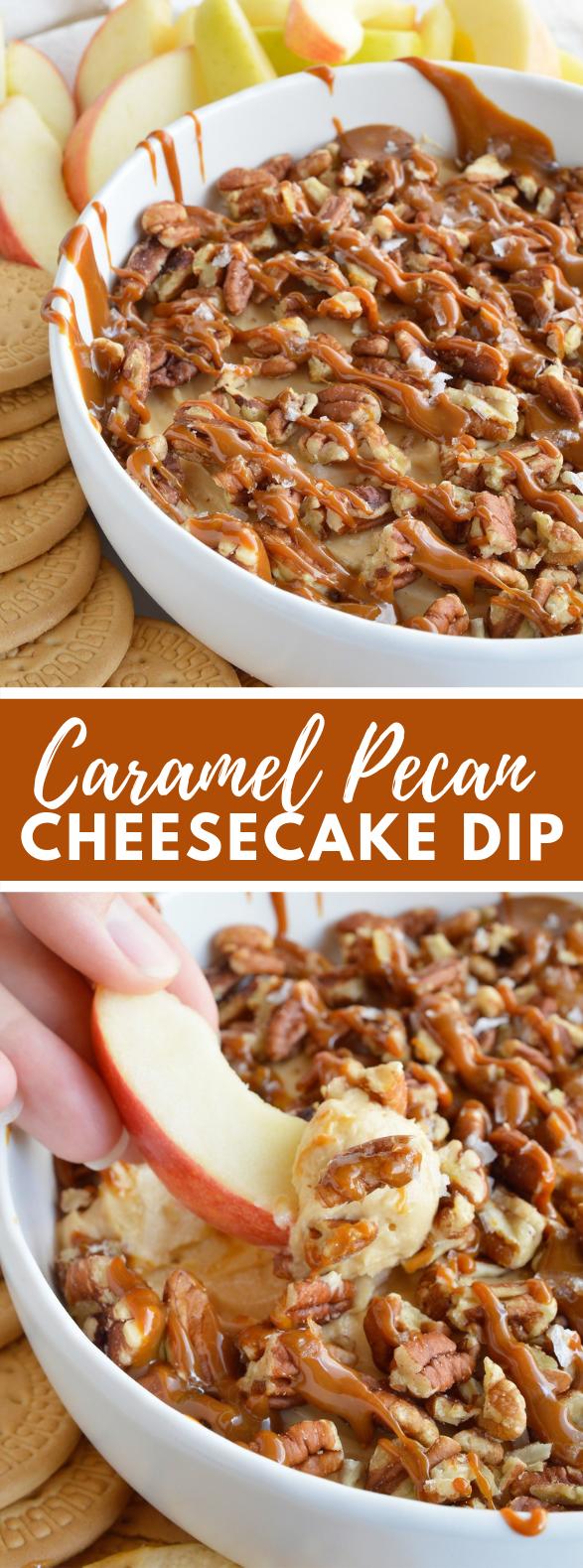 Salted Caramel Pecan Cheesecake Dip #desserts #5minutes