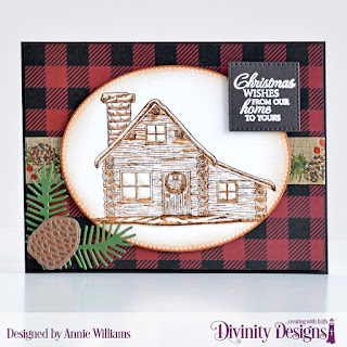 Stamp/Die Duos: Home for the Holidays, Custom Dies: Pierced Ovals, Pierced Squares, Pine Cone, Pine Branches, Paper Collection: Rustic Christmas