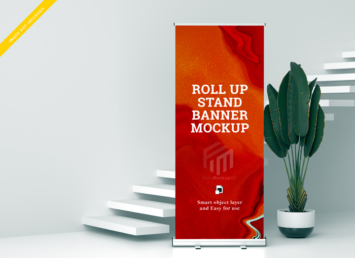 Roll Up Banner Stand Mockup Template Psd