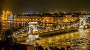 Chain Bridge at Night Budapest Hungary