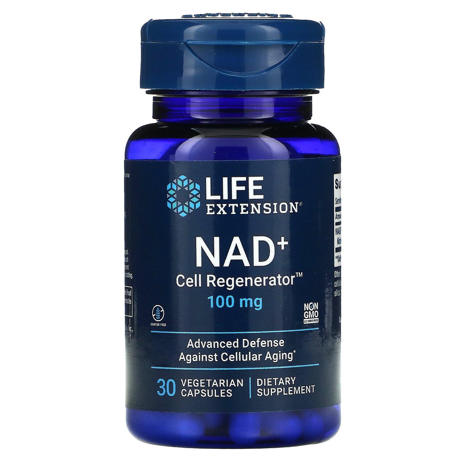 Life Extension, NAD+, клеточный регенератор Никотинамид Рибозид, 100 мг, 30 растительных капсул