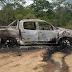 Hilux usada no assalto ao carro-forte é encontrada incendiada na zona rural de Santa Quitéria