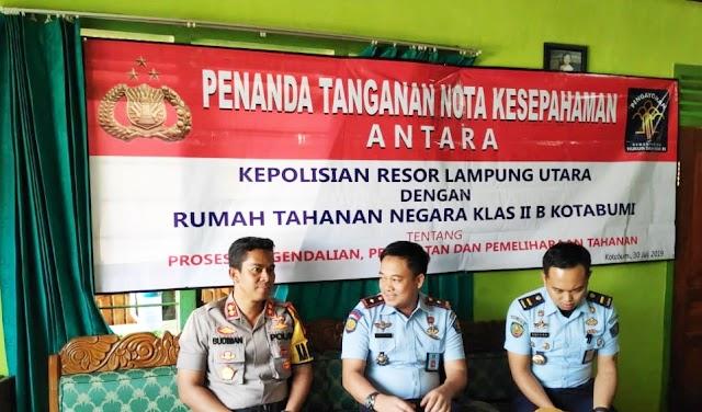 Polres Lampung Utara dan Rutan Kelas II B Kotabumi Bersinergi Jalin Kerjasama