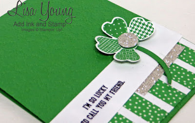 Stampin' Up! Flower Shop stamp set made into a shamrock. Saint Patrick's Day card with Washi Tape . Handmade card by Lisa Young, Add Ink and Stamp