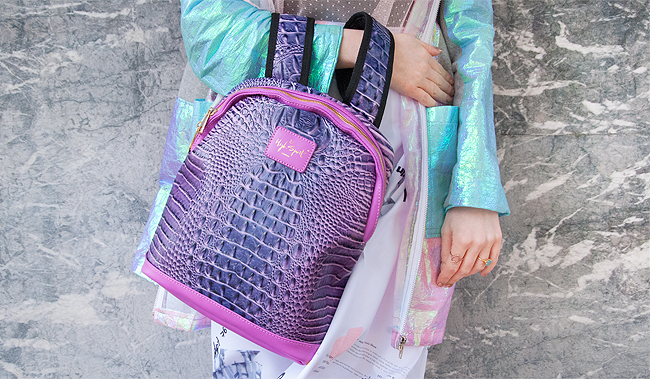 High Spirit Bags, purple backpack, blogger