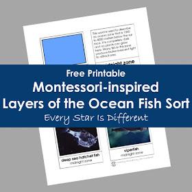Montessori-inspired Layers of the Ocean Fish Sort (Bonus Freebie)