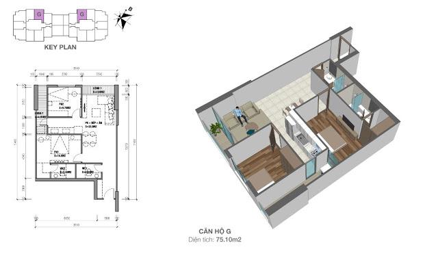 Mặt bằng căn hộ 75,1 m2 chung cư Eco Dream City