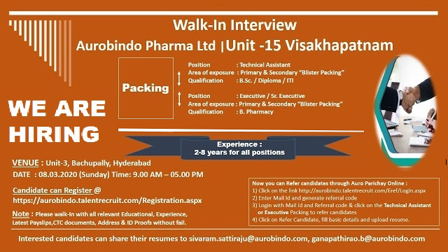 Aurobindo Pharma Ltd - Walk-In Interview for Experienced Candidates on 8th Mar' 2020