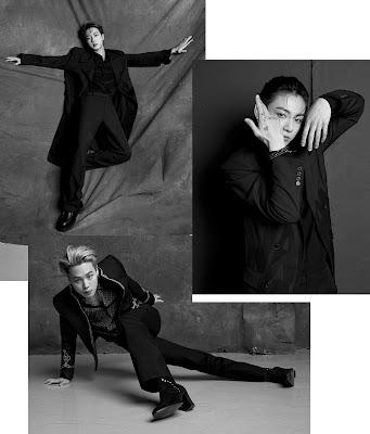 Czarno białe zdjęcia - Jin, Jungkook i Jimin robiący pozy