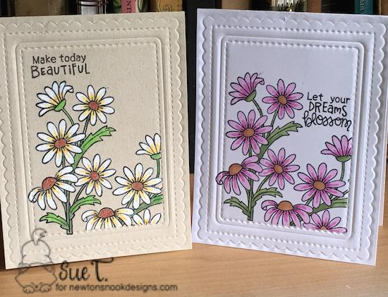 Make today beautiful by Sue features Frames & Flags, Dainty Daisies, and Floral Fringe by Newton's Nook Designs; #newtonsnook