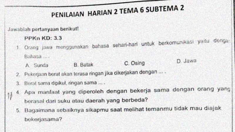Soal Penilaian Harian Kelas 4 Tema 6 Subtema 2