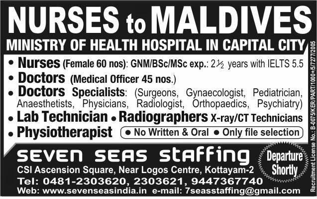 Nurses JOB Vacancy: NURSES TO MALDIVES