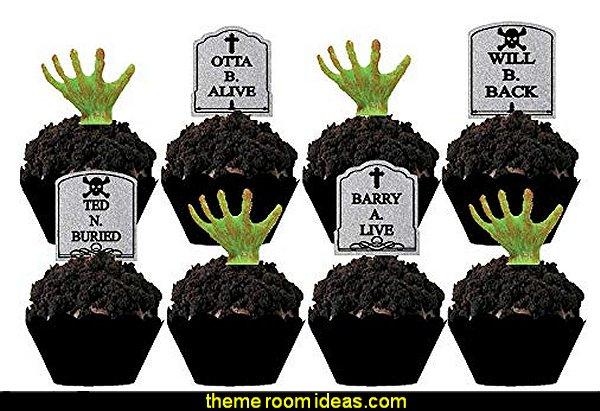 Halloween Party Tombstone Graveyard Cupcake Picks
