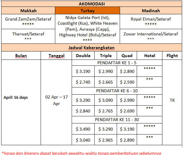 Paket Umroh Plus Turki 2 April 2016