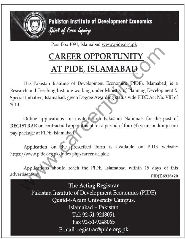www.pide.org.pk Jobs 2021  - Pakistan Institute of Development Economics PIDE Jobs 2021 in Pakistan