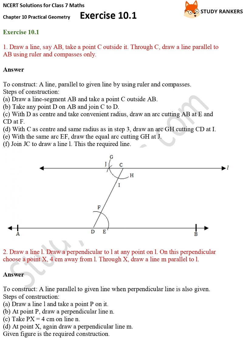 NCERT Solutions for Class 7 Maths Ch 10 Practical Geometry Exercise 10.1 1