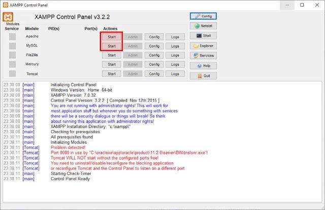 Mengaktifkan Apache dan MySQL XAMPP