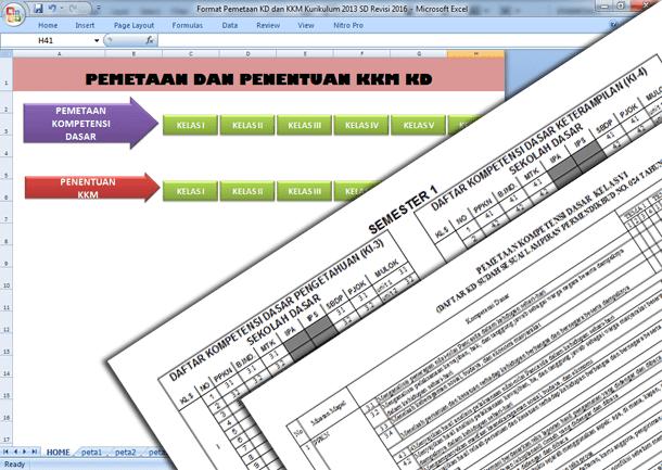 Format Pemetaan KD dan KKM Kurikulum 2013 SD Revisi 2016