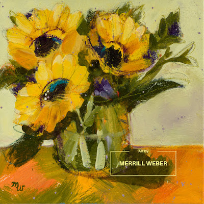 Original mixed media sunflower painting in acrylic, pastel and graphite by Merrill Weber