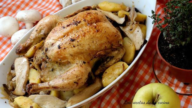 Pollo asado con manzanas y setas (VIDEORECETA)