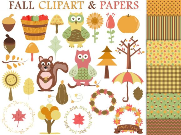 Fall Clipart And Digital Papers