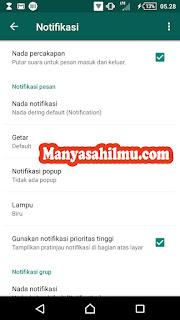Mengatur setting Pemberitahuan atau Notifikasi WhatsApp