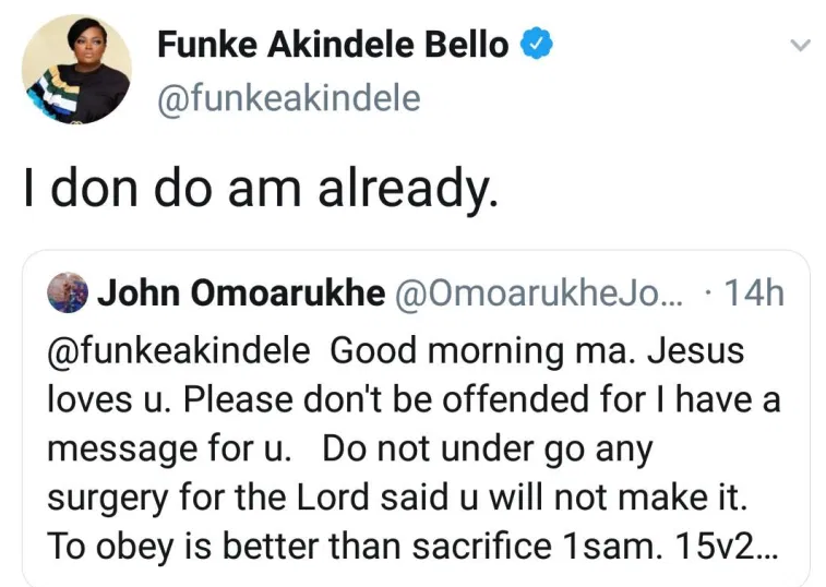 Funke Akindele blasts Online Pastor who told her that she will die if she undergoes surgery