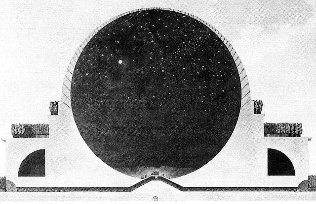a cut-away view of an Etienne-Louis Boullee planetarium design