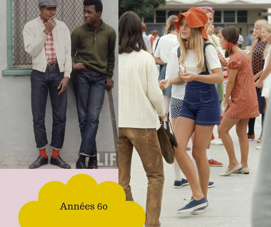 La folies des années 60, modèles salopettes jeans années 60
