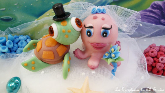 Lovely Turtle and Octopus. Wedding Cake Topper. Mixed Couple ...