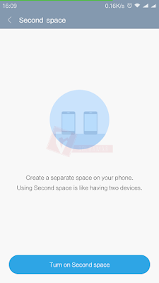 Pengertian second space menurut MIUI 8.0.5.0 China Stable